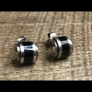 925 Sterling Silver Earrings w/ Black Inserts